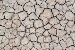 Oppervlakte van gebarsten aarde voor textuurachtergrond, droge klei Royalty-vrije Stock Foto's