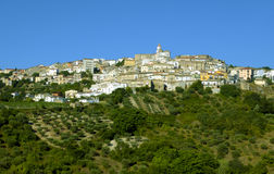 Oppido Lucano, alte Stadt und Olivenbäume Lizenzfreies Stockbild