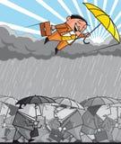 Opportunist businessman flying over the depression Stock Images