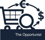 Vector illustration on white background of the concept of the activities of opportunists in business. Opportunistic entrepreneur is looking for ways to quickly Royalty Free Stock Photos