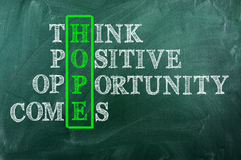 Opportunità di speranza immagine stock