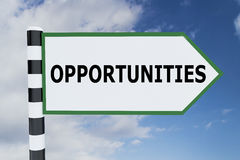 Opportunities - career concept. 3D illustration of OPPORTUNITIES script on road sign stock illustration