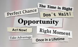 Opportunities Chance for Success News Headlines. 3d Illustration Royalty Free Stock Images