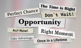 Opportunities Chance for Success News Headlines. 3d Illustration vector illustration