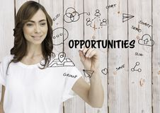 Opportunities graphic. Woman writing it. Wood background. Digital composite of Opportunities graphic. Woman writing it. Wood background Stock Photo