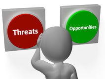 Opportunities Threats Buttons Show Tactics. Opportunities Threats Buttons Showing Tactics Or Analyzing Royalty Free Stock Image