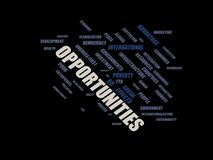 Opportunities - word cloud wordcloud - terms from the globalization, economy and policy environment. Wordcloud with series of terms from the globalization Stock Photo