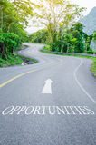 Opportunities written on S curve road Stock Photography