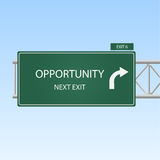 Opportunity. Image of a highway sign pointing to Opportunity vector illustration