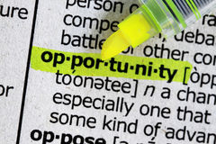 Opportunity. Dictionary definition of business word with highlighter Stock Images