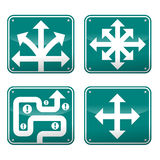 Opportunity. Road signs with various arrow and pathways representing ideas, opportunity, and choices royalty free illustration