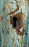 Opportunity. Keyhole on old door with peeling paint Royalty Free Stock Photography