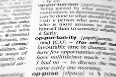 Opportunity. Dictionary definition of business word zoom blur Stock Photography