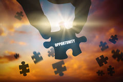 Opportunity  against blue and orange sky with clouds Royalty Free Stock Photo