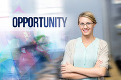 Opportunity against confident female teacher in computer class Royalty Free Stock Image