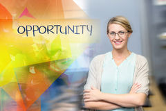 Opportunity against confident female teacher in computer class Royalty Free Stock Photography