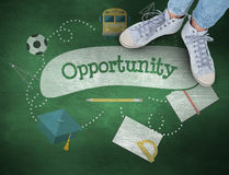 Opportunity against green chalkboard Stock Photography