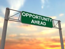 Opportunity ahead - freeway sign Stock Photos