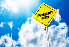 Opportunity ahead message on road sign Stock Photo
