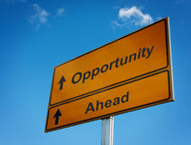 Opportunity ahead road sign. Royalty Free Stock Photo