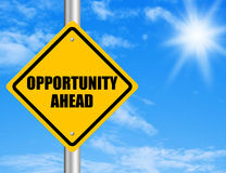 Opportunity Ahead. Road sign with blue sky Stock Images