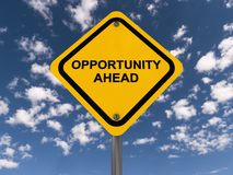 Opportunity ahead sign. Yellow opportunity ahead sign with blue sky and cloudscape background Royalty Free Stock Photography