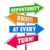 Opportunity Awaits at Every Turn Arrow Signs Attitude. 3D Royalty Free Stock Photography