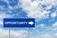 Opportunity on blue road sign Royalty Free Stock Image