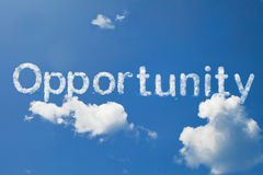 Opportunity clouds. Shape form on blue sky Royalty Free Stock Images