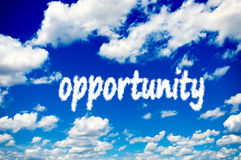 Opportunity clouds. White opportunity clouds over the blue sky Royalty Free Stock Photos