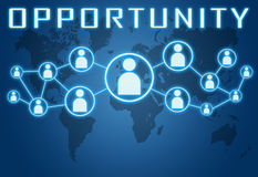 Opportunity. Concept on blue background with world map and social icons Stock Photos