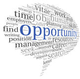 Opportunity concept in word cloud. Opportunity and success concept in word tag cloud on white Royalty Free Stock Photos