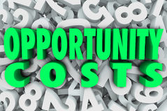 Opportunity Costs Resource Allocation Priority Tasks Projects. Opportunity Costs in 3d words on a background of numbers to illustrate allocation of resources on Royalty Free Stock Photos