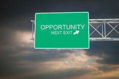 Opportunity - 3D Highway Exit Sign Royalty Free Stock Photo