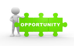 Opportunity. 3d people - man , person with pieces of puzzle. Opportunity vector illustration