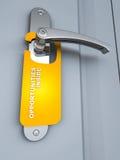 Opportunity door. Door of opportunity with label reading opportunity inside in orange color, grey door color Stock Images