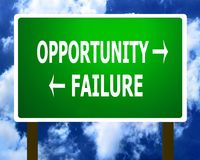 Opportunity failure road sign Stock Photography