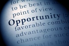 Opportunity. Fake Dictionary, Dictionary definition of the word Opportunity Stock Images