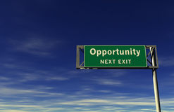 Opportunity Freeway Exit Sign Royalty Free Stock Photo