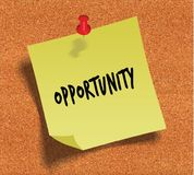 OPPORTUNITY handwritten on yellow sticky paper note over cork noticeboard background. Stock Image