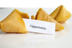 Opportunity knock. Opportunity fortune cookie message, closeup Royalty Free Stock Photography