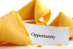 Opportunity knocks. Opportunity fortune cookie, text is sharp stock image