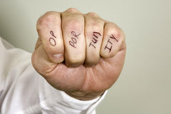 Opportunity Knocks. Bare knuckle in a fist with the word Opportunity stock photo