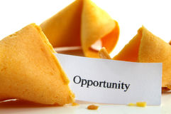 Opportunity knocks. Opportunity fortune cookie, closeup on white stock image
