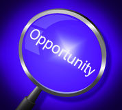 Opportunity Magnifier Means Search Magnify And Chances Stock Photo
