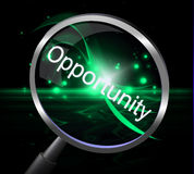 Opportunity Magnifier Shows Opportunities Magnify And Possibility Stock Images