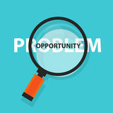 Opportunity in problem concept business analysis magnifying glass symbol. Vector vector illustration