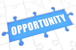 Opportunity. Puzzle 3d render illustration with word on blue background Stock Image