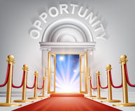 Opportunity Red Carpet Door. An illustration of a posh looking door with red carpet and Opportunity above it. Concept for positive change Royalty Free Stock Image