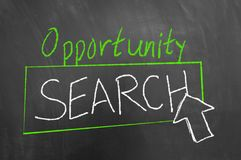 Opportunity search text button arrow on blackboard royalty free stock photography